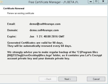 certificat de sécurité gratuit fourni par TS2LOG